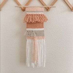 Pink and white boho wall hanging tapestry